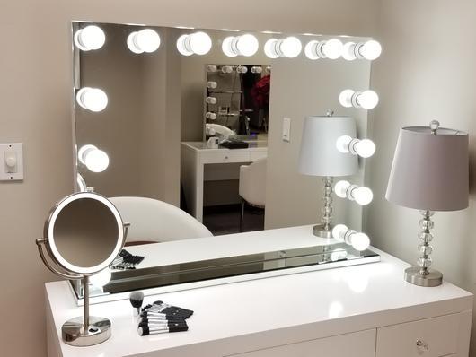 sminkspegeln med belysning